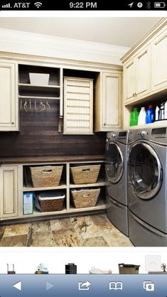 Laundry :: love the wood look behind the washer and dryer....grey stained? ;)