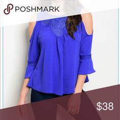 """Royal Blue Cold Shoulder top Beautiful top for a night out! Material is made out of 100% Polyester. Length: 23"""" B: 36"""" W: 36"""" Tops Blouses"""