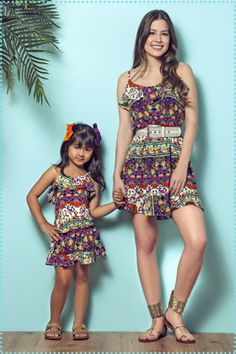 Madaminha | Coleção Floriando - Primavera/Verão 2017 Mommy Daughter Dresses, Mother Daughter Fashion, Mom Daughter, Mom And Baby Outfits, Little Girl Outfits, Baby Suit, Stylish Girl, Matching Outfits, Unique Fashion