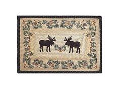 Moose & Pinecone Rectangular Braided Rug [blackforestdecor.com]