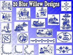 Beautiful Blue Willow Machine Embroidery Design By Allaboutdesigns 5 00