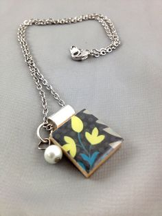 Scrabble Tile Pendant Necklace with Charms by Song139 on Etsy, $12.00