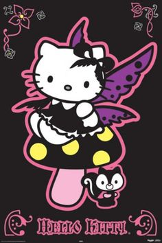 gothic hello kitty postcard