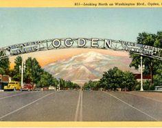 Ogden Utah Welcome Sign Looking North on Washington Blvd Vintage Postcard (unused)