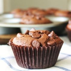 Super easy and healthy chocolate peanut butter muffins ~ naturally gluten free ~ no special flours!