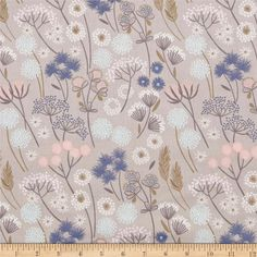 Designed by Lewis and Irene, this floral cotton print fabric is perfect for quilting, apparel and home decor accents. Colors include taupe, pink, olive, blue, aqua, grey, white and peach.