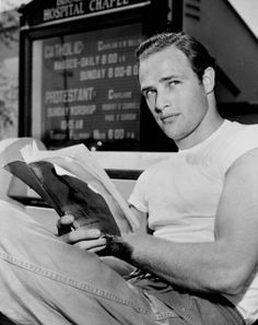 Marlon Brando on the set of The Men, 1950