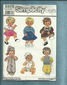 Vintage 1987 Simplicity 8376 Baby Doll Clothes Western Shirt Skirt Jogging &  Sun Suit Size 17 to 18  inch doll UNCUT