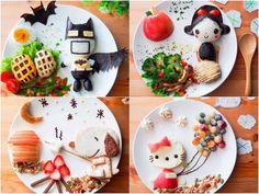 Samantha Lee, faz com que os pratos do almoço de sua filha se transformem em personagens animados.  Assim não tem jeito da garota não comer tudo!