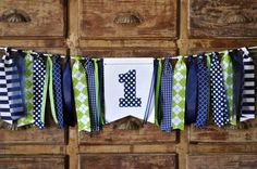 Boys navy blue & green first birthday high chair banner, fabric ONE highchair rag banner, cake smash photo prop, golf highchair rag garland