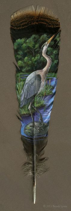 Gorgeous Animal Portraits Painted on Wild Turkey Feathers by Connecticut-based artist, illustrator, and jewelry maker Brenda Lyons crafts gorgeous portraits of creatures on an unconventional surface. Turkey Feathers, Bird Feathers, Painted Feathers, Feather Painting, Feather Art, Parrot Feather, Street Art, Feather Crafts, Blue Heron