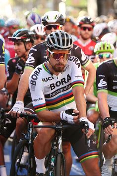 Peter Sagan gets ready for the start of the People's Choice Classic street race a preview race to the...