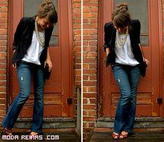 jeans combinados con blazer