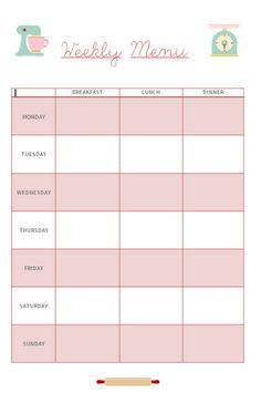 Caseta de Paper: Free Printable: Weekly Menu Planner!