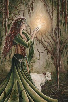 Celtic Goddess Brigid - Imbolc celebrated at the beginning of February is the first of the Spring Festivals. Associated with Divination, the first ewe's milk for lambs, a time for visioning and beginning to manifest what is needed in the year ahead with Bridgid and all her guidance, medicines and lore. How will you celebrate Imbolc this year? ~ www.ShamanicReiki.ca