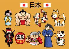 japan character culture in set vector art illustration Doodle Cartoon, Cartoon Logo, Cute Cartoon, Japanese Characters, Cute Characters, Tattoo Illustration, Character Illustration, Japanese Background, Geisha Art