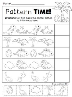 Literacy and Math Activities Use for Dinosaur Fun Friday. Dinosaur Literacy and Math Activities - Dino PatterningUse for Dinosaur Fun Friday. Dinosaur Literacy and Math Activities - Dino Patterning Dinosaur Worksheets, Dinosaur Theme Preschool, Dinosaur Activities, Dinosaur Crafts, Preschool Themes, Preschool Lessons, Preschool Math, Kindergarten Worksheets, In Kindergarten