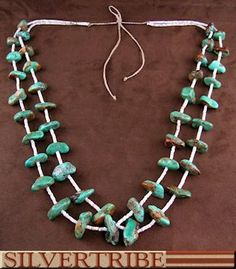 Navajo Kingman Turquoise And Pin Shell 2-Strand String Braided Adjustable Bead Necklace DS55820