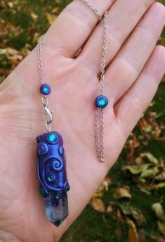 Luna Blue's Indigo and Aqua Aura Quartz by LunaBlueBoutique
