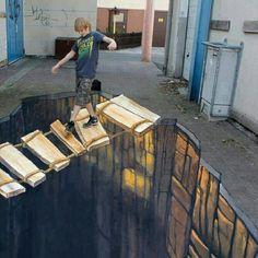Street Art, often known as chalk art is two dimensional artwork drawn on the street itself that gives you a three dimensional optica. 3d Street Painting, 3d Street Art, Amazing Street Art, Street Art Graffiti, Amazing Art, Painting Art, Trompe L Oeil Art, 3d Sidewalk Art, 3d Floor Art