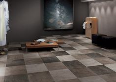 Fashionable and on-trend, metropolitan-inspired moody colors transform your space into downtown chic. Diverse sizes, large-format, and plank options make this collection a hit for urban-styled commercial walls and floors. Concrete Look Tile, Stained Concrete, Ceramic Floor Tiles, Porcelain Tile, Hardwood Tile, Flooring Store, Tile Flooring, Flooring Options, Flooring Ideas