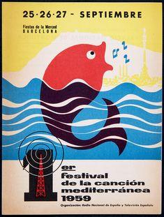 Programa, invitació i passi del 1er Festival de la Canción Mediterránea. Barcelona, 25-27 setembre 1959 (Biblioteca de Catalunya) Las Mercedes, Critic, Ephemera, Barcelona, Movie Posters, Movies, Songs, Films, Film Poster