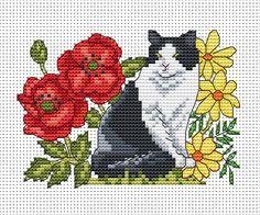 Amanda Gregory cross-stitch design: cat among the flowers free cross stitch chart