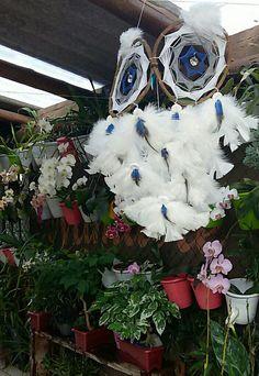 Owl Dreamcatcher  Filtro dos Sonhos de Coruja branca e azul - por Kelly Bilibio.Pagnoncelli