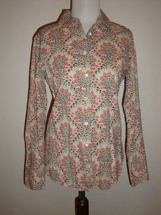 NWT JCrew Womans Long Sleeve 70s Retro Button Down Floral Cotton Shirt Small | eBay. $27.99