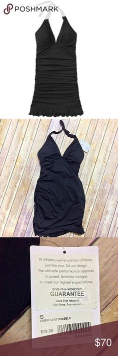 """Athleta Shirrendipty Swimdress One Piece Small Deep shirred V-neck, adjustable tie-halter neck, supportive underbust band. Built-in shelf bra and brief, fully lined for no-see-through coverage. Removable cups for extra coverage.  Brand: Athleta Orig Price: $79 Style#: 413972 Color: Black New with Tags: Yes  Materials: Shell 75% nylon, 25% spandex / Lining 100% polyester Features: Breathable, sleek, stretchy. Rated UPF 50+.   Sizing Info from Website: Size: Small - 4/6 Bust: 34"""" - 35"""" approx…"""