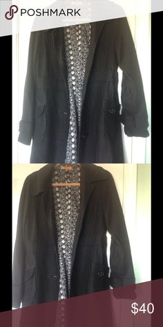Black pea coat Black coat with two side pockets button down buttons great condition 100% polyester Tulle Jackets & Coats Pea Coats