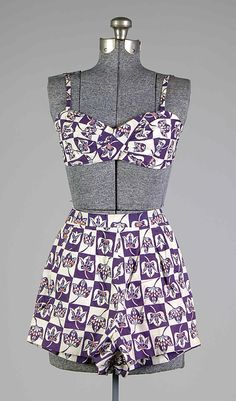 1951 cotton Bathing suit by Carolyn Schnurer. Textile by Springmaid (American).