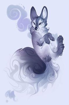 Purple swirly fox, by Demicoeur on Furaffinity