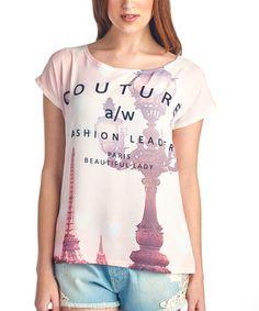 Look what I found on #zulily! Rose Eiffel Tower Scoop Neck Tee by Charlie Charlie #zulilyfinds