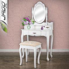 toaletka kosmetyczna lustro stolek biala ornament