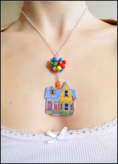 Flying Up House Balloons Disney Pixar Inspired Pendant Necklace