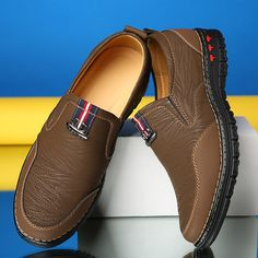 Men microfiber leather soft sole slip on casual shoes, khaki. Mens Casual Leather Shoes, Casual Shoes, Men Casual, Sport Chic, Boy Shoes, Shoes Men, Ankle Boots Men, Shoe Pattern, Mens Fashion Shoes