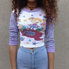 long sleeves longsleeve shirt putple colorful rugrats nickelodeon adorable purple