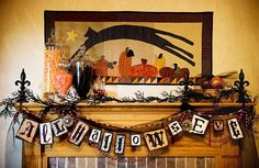 This is my favorite Halloween mantel.