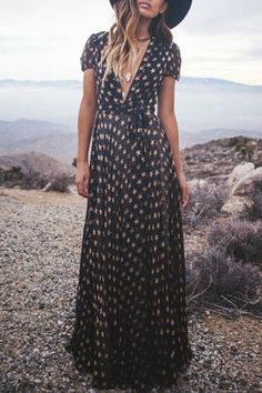 Full Star Print Short Sleeve Maxi Dress: Maxi Dresses | ZAFUL