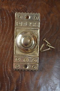 Door Bells & Knockers VICTORIAN GOTHIC REVIVAL STYLE BRASS FRONT DOOR BELL PUSH BUTTON BELL PUSHER CB7 Hardware