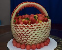 Take a look at the photos of the winning entries for the 2015 online watermelon carving contest. Food Carving, Vegetable Carving, Watermelon Carving, Edible Art, Culinary Arts, Food Design, Fruits And Vegetables, Strawberry, Cake
