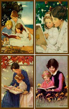 Olde America Antiques | Quilt Blocks | National Parks | Bozeman Montana : Jessie Willcox Smith - JWS Set 5 Mother and Children Reading