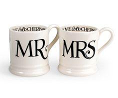 Mr & Mrs 1/2 Pint Mug Gift Boxed Set