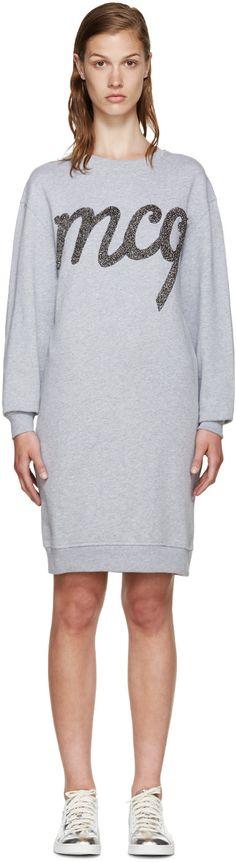 Mcq By Alexander Mcqueen Grey Logo Pullover Dress Alexander Mcqueen Clothing, Mcq Alexander Mcqueen, French Terry, Rib Knit, Heather Grey, Fashion Dresses, Graphic Sweatshirt, Pullover, Sweatshirts