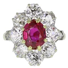 Antique Burma No Heat Ruby Diamond Gold Cluster Ring   See more rare vintage Cocktail Rings at http://www.1stdibs.com/jewelry/rings/cocktail-rings