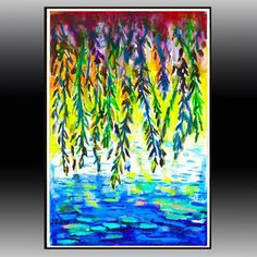 watercolor weeping willow | Beautiful! Weeping Willow, original watercolor painting 14x18 in blue ...
