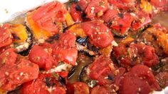 Roasted pepper and eggplant stacks