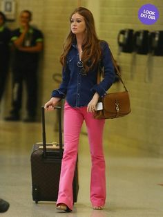 Flare rosa_ camisa jeans
