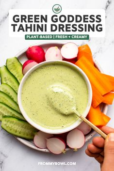 This Green Goddess Tahini Dressing is creamy, herby, and goes with just about anything! BONUS: It's ready in under 5 minutes! Vegan, Gluten-Free, & Nut-Free. Vegan Sauces, Vegan Dishes, Vegan Recipes, Healthy Sauces, Yummy Recipes, Green Goddess Dressing, Vegan Ranch, Tahini Dressing, Creamy Sauce